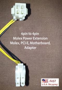 "4pin to 4pin ATX 12V Power Extension 8"" Long"