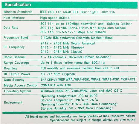 Wireless-N, Wi-Fi, USB Adapter Antena Sku#- 111144